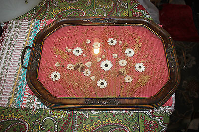 Antique Wood & Glass Serving Tray-Dried Flowers In Center-Large Tray Wall Plaque