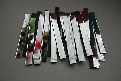 25 pieces Silver Glass Mirror Tile Approx 1 x 5 cm 2 mm Thick Art/&Craft