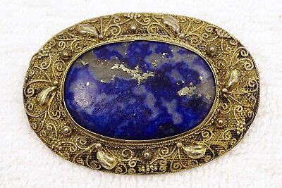 Antique Chinese Gilt Silver Filigree Lapis Lazuli Brooch