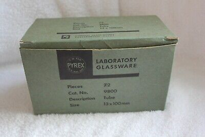 Vintage Pyrex Laboratory Glassware Box Of 72 Tubes 13 X 100mm Open Missing 2