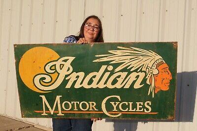 "Large Vintage Indian Motor Cycles Motorcycle Dealership Gas Oil 48"" Metal Sign"