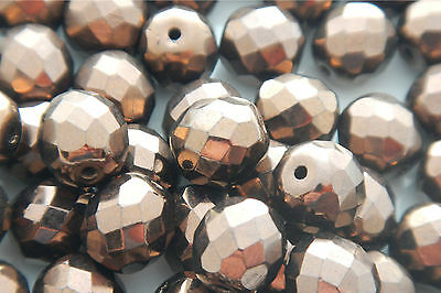 50 PCS WHOLESALE 6mm CZECH GLASS FIRE POLISHED LOOSE BEADS - DARK BRONZE