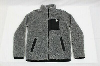 Abercrombie Kids Gray/Black Sherpa Fleece Coat: Kids Size 9/10