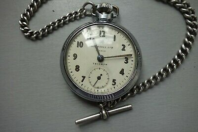 INGERSOLL POCKET WATCH WITH SOLID SILVER FOB CHAIN - RUNNING