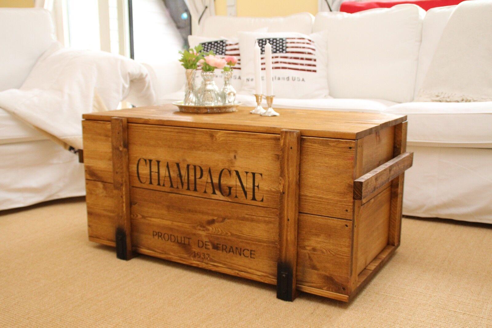 holzkiste truhe couchtisch vintage shabby landhaus massivholz alt antikbraun eur 195 00. Black Bedroom Furniture Sets. Home Design Ideas