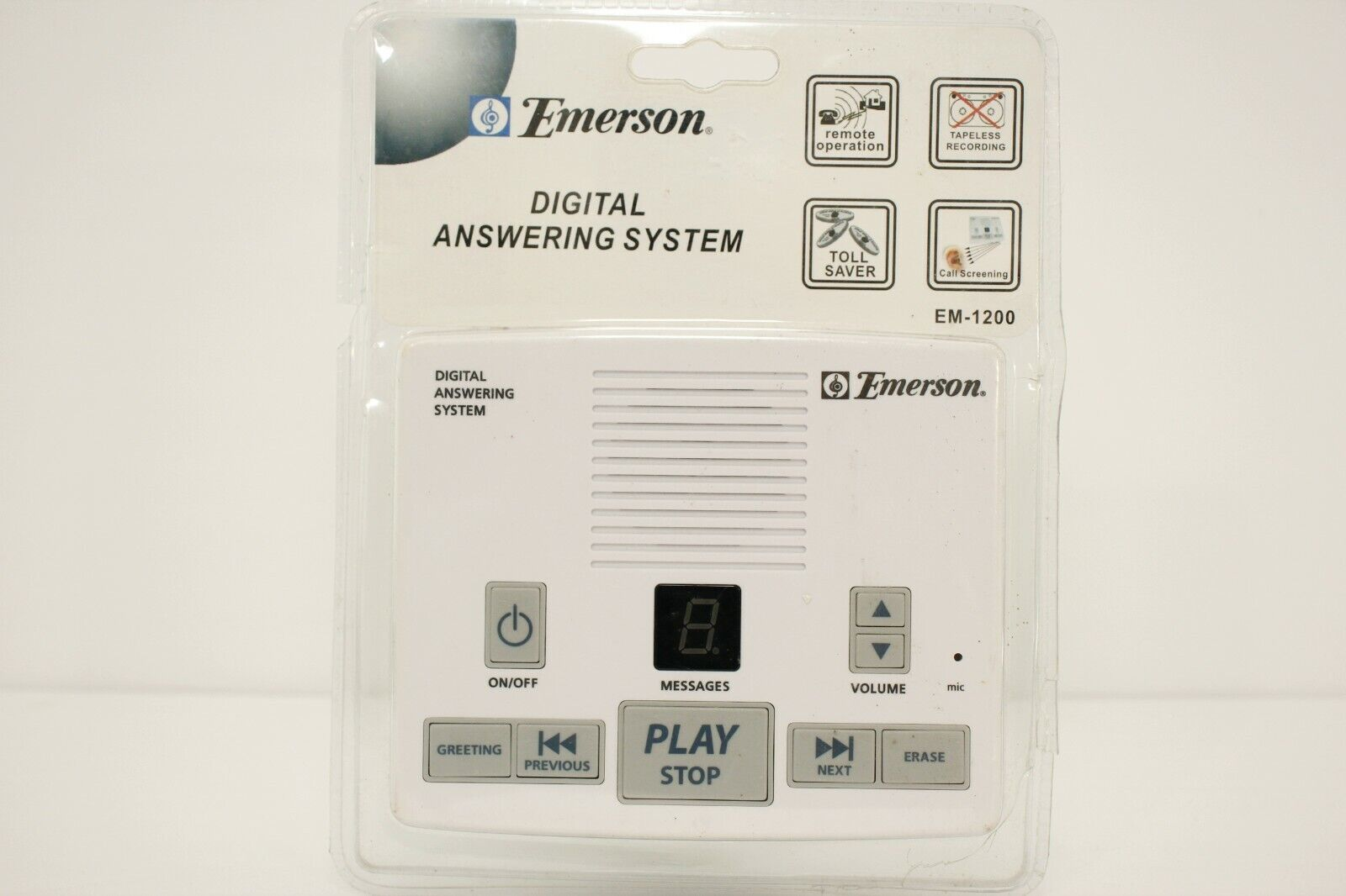Emerson Digital Answering Machine System Tapeless Recording