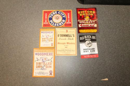 Lot of 6 Vintage Original Liquor Labels Whiskey Gin Beer