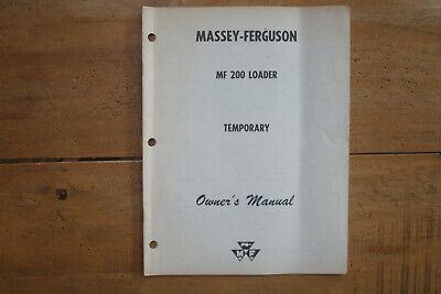 1962 Massey-ferguson Mf 200 Loader Temporary Owners Manual