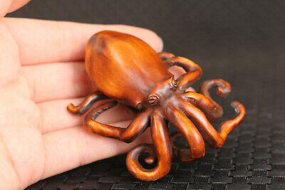 Japanese china boxwood hand carved octopus statue netsuke collectable hand piece