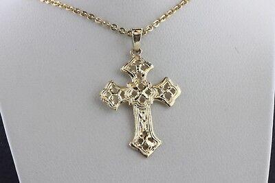 14K Yellow Gold Celtic Design Pattern Pointed Cross Charm Pendant ()