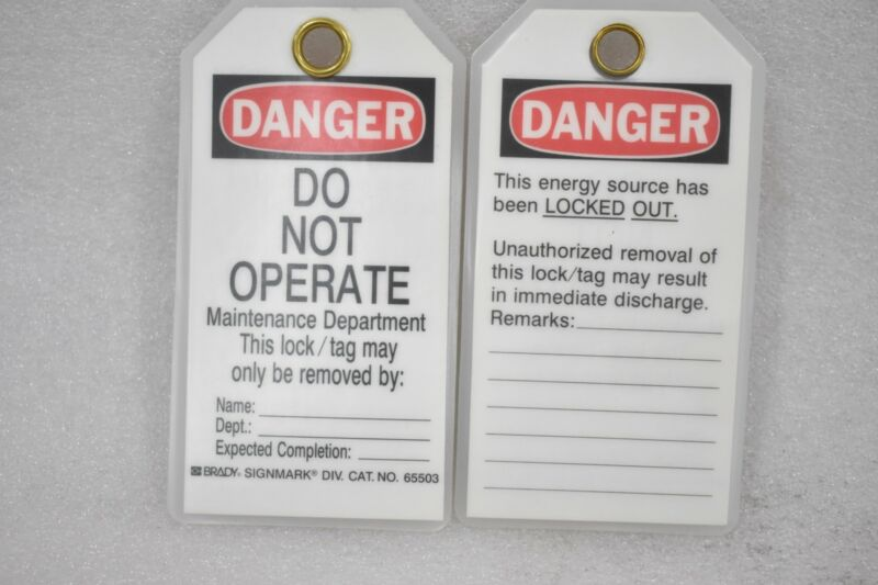 DANGER TAG, POLYESTER, DO NOT OPERATE MAINTENANCE DEPARTMENT ( LOT OF 16 )