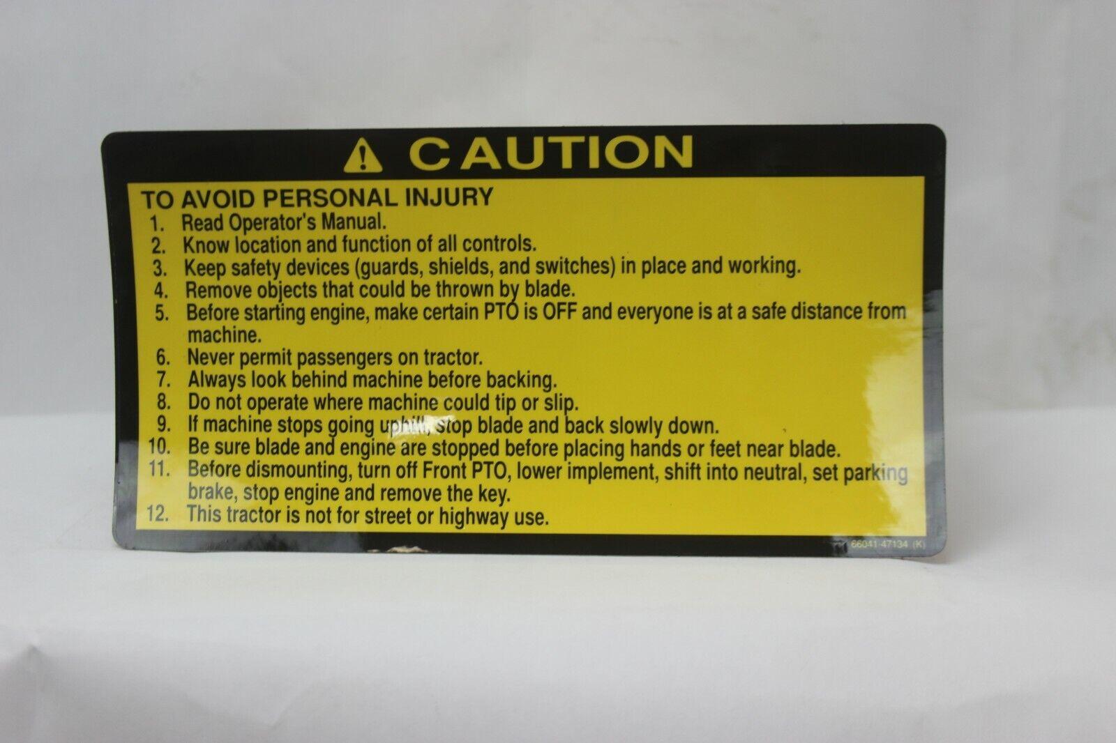 OE Kubota Warning/Caution Sticker/Decal Label 66041-47134
