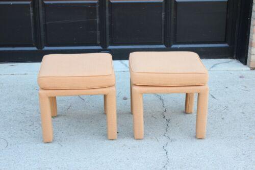 Milo Baughman MCM Modern Inspired Parsons Footstools Ottomans - a Pair