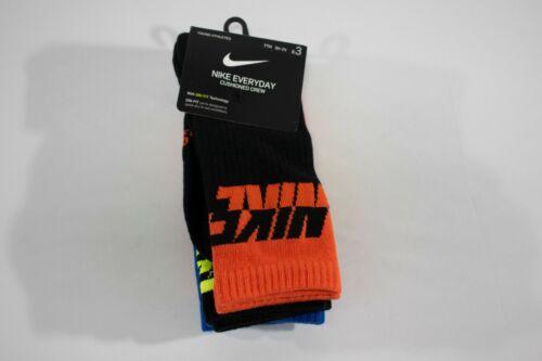 NIKE Everyday Cushioned Crew Socks 3 PACK - Size Medium 5Y-7Y - Volt Blue Black