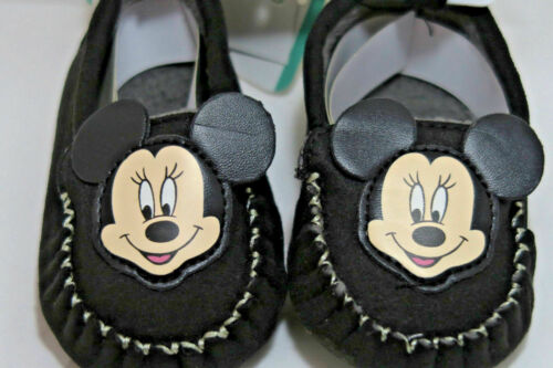 NEW DISNEY BABY Moccasins MINNIE MOUSE BLACK SOFT SOLE SHOES