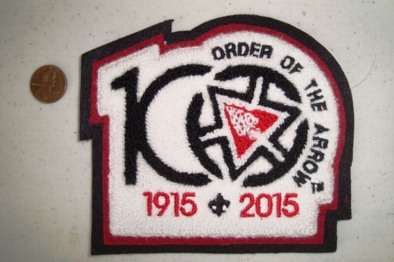 OA PATCH BLACK BRDR CENTENNIAL 100TH ANNIVERSARY 2015 NOAC CHENILLE JACKET FLAP