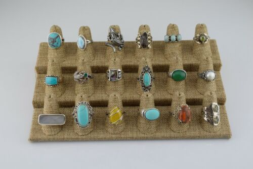 Lot of 18 Sterling Silver Multi Stone Statement Rings Bands Various Sizes