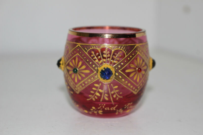 ANTIQUE HAND PAINTED JEWELED VICTORIAN CRANBERRY SHOT GLASS-GOLD-MOSER