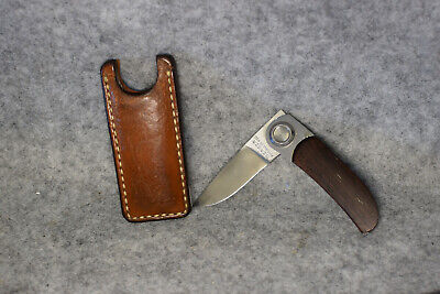 """Gerber """"Paul"""" Model 2PW Button Folding Knife with leather sheath"""