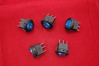 5 Pcs Round Blue Light Illuminated 2 Position Boat Rocker Switch 3 Pin 12v Acdc