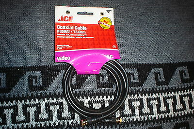 ACE HARDWARE 6 ft. Coaxial Cable VCR To TV (New Old Stock)