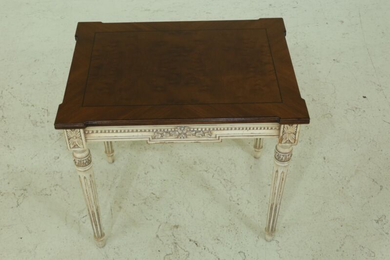 50011EC: KARGES Paint Decorated Walnut Top French Style End Table