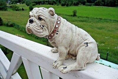 Hund Bulldogge Spike Deko Figur Haus Garten 18 x 20 x 15cm Shabby Retro Stil NEU