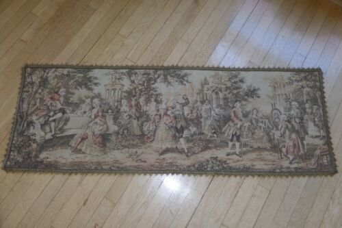"""Vintage Woven Tapestry Wall Hanging Table Runner made in Belgium 56"""" x 20"""""""