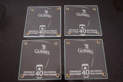 Set of 4 GUINNESS Beer Glass Coasters Celebrating 40 Years in Canada w/Feet