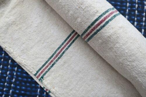 Antique European Hemp Grain Sack Lovely Christmas Red and Green Stripes