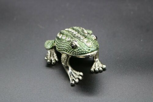 Fancy Rhinestone Frog Toad Jeweled Enamel Trinket Box