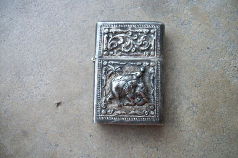 sterling silver jewelers case lighter ELEPHANT Siam 1950