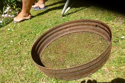 Vintage old garden galvanised metal sieve riddle 14 1/2 ins diameter