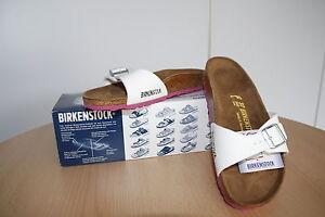 Birkenstock Birko Flor Lack Sandale Madrid weiß Sohle pink Größe 39