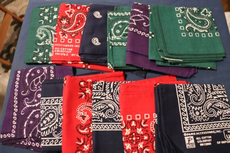 "Vintage Lot 12 Paris Accessories 20"" x 20"" Handkerchief Bandannas 4 Colors USA"