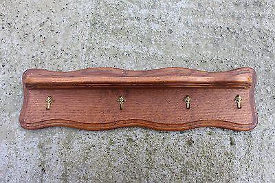 Vintage Oak Wooden Coat Hat Wall Rack with 4 Brass Head Hooks #733