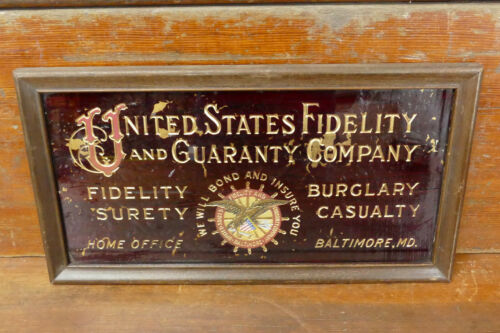United States Fidelity & Guaranty Company Reverse Paint Glass Sign Baltimore MD