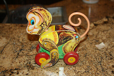 Vintage Fisher Price  1957  Chatter Monkey Pull Toy #798