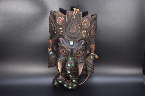 Ganesha Wooden Mountain Mark Ganesh ganpati Antique Old Mask Ritual Nepalvintage