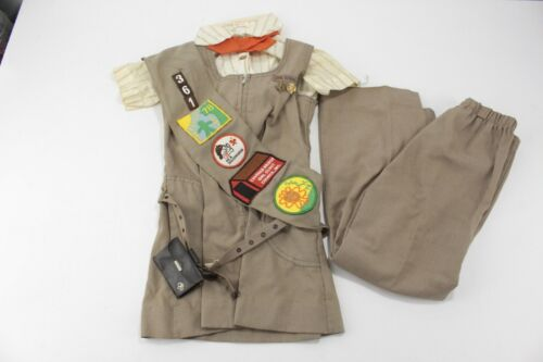 Vintage 1970s Girl Scouts Brownie Uniform with Sash Pins Patches Coin Purse