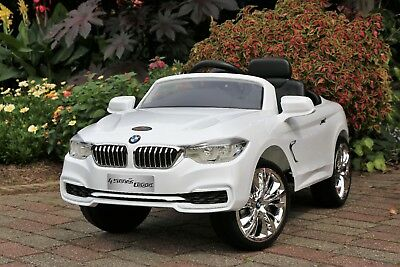 Kids Ride-On BMW 4-Series Car White Licensed Electric 12V Dual Motor with Remote