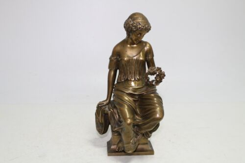 Antique Authentic Hand Made Bronze  Woman Statue .