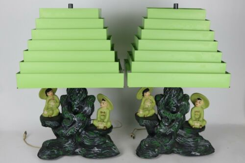 Vintage Pair 1955 Silvestri Bros Oriental Asian Chalkware Table Lamps w/ Shades