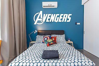 Avengers Logo Marvel Wall Art Sticker Decals Home decor Art Deco Kid Headboard ()