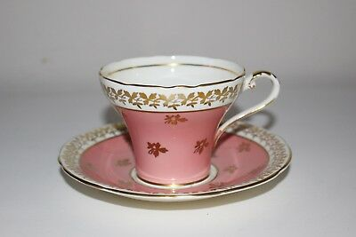 Aynsley Tea Cup And Saucer Corset Shape Pink With Gold Gilt Leaf Pattern C880