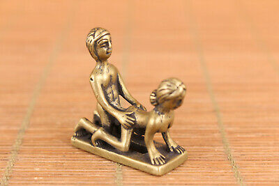 chinese old copper Handcarved  statue noble decoration mini netsuke