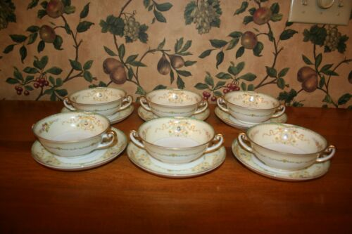 VINTAGE MEITO CHINA CREAM SOUP BOWLS/PLATES(6 SETS)-MADE IN  JAPAN CIRCA 1930