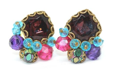 Signed West Germany Clip on Earrings Rhinestone Bead Cluster E567
