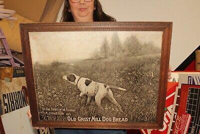 "Rare Vintage 1920's Old Grist Mill Dog Bread Hunting Dog 23"" Sign"