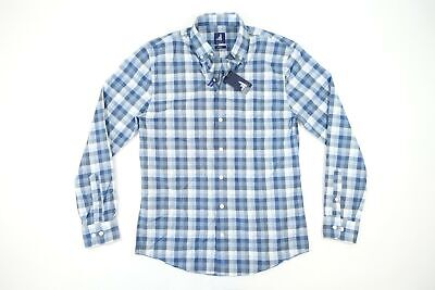 JOHNNIE-O SURF CHECK FRENCH BLUE SMALL TWEENER JOHNSTON BUTTON FRONT SHIRT NWT